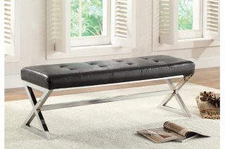 Kona Black Bonded Leather Bench