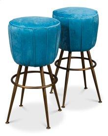 Light Blue Velvet Pouf Barstool