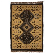 Black & Tan Kilim Pattern 4'x6' Rug.