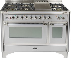 Stainless Steel with Chrome trim - Majestic 48-inch Range with Griddle