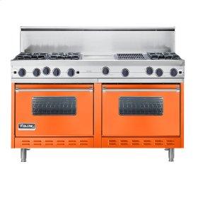 """Pumpkin 60"""" Open Burner Commercial Depth Range - VGRC (60"""" wide, six burners 12"""" wide griddle/simmer plate 12"""" wide char-grill)"""