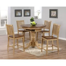 DLU-BR4260CB-B60-PW5PC  5 Piece Round or Oval Butterfly Leaf Pub Table Set with Slat Back Stools