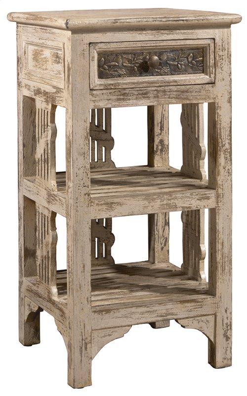 Alena Two Shelf Stand - Distressed White