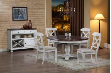 Sunset Trading 5pc Andrews Pedestal Dining Set in Antique White - Sunset Trading