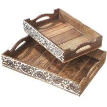 Manarola Hand Carved Leaf Tray set/2.