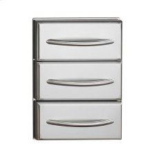 Flat Stainless Steel Built-In Triple Drawer Set