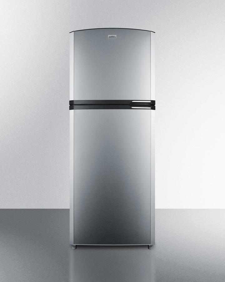 Summit Counter Depth Frost Free Refrigerator Freezer With Stainless Steel Doors Black Cabinet Icemaker 26 Footprint And Left Hand Door Swing