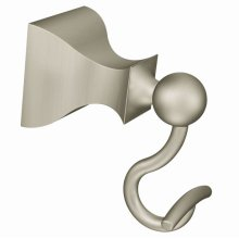 Retreat brushed nickel single robe hook