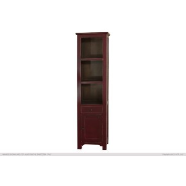 1 Drawer, 1 Door & 3 Shelves Bookcases, Red Currant finish