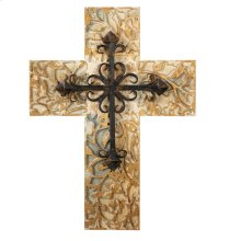 Distressed Carved Cross with Scroll Layer.