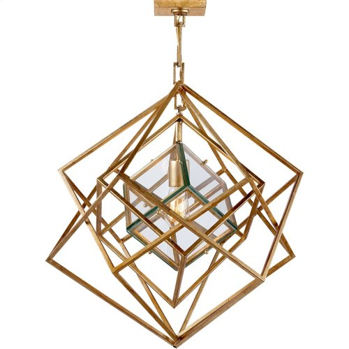 Visual Comfort KW5020G-CG Kelly Wearstler Cubist 22 inch Gild Pendant Ceiling Light, Kelly Wearstler, Small, Chandelier, Clear Glass