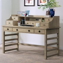Perspectives - Leg Desk With Hutch - Sun-drenched Acacia Finish