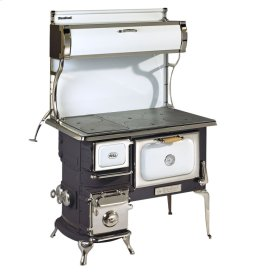 White Oval Wood Cookstove without Water Reservoir