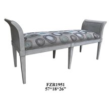Marilyn Antique White and Colored Swirl Fabric Bench