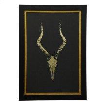 Metallic Gold Skeleton Print Framed Under Glass
