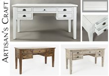 Artisan's Craft 5-drawer Desk - Weathered White