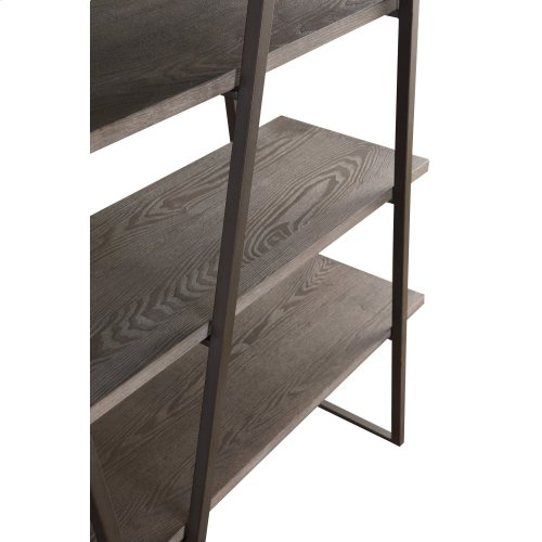 Emerald Home Atari Bookshelf 60 W 2 Racks Metal Frame Antique Grey Shelves