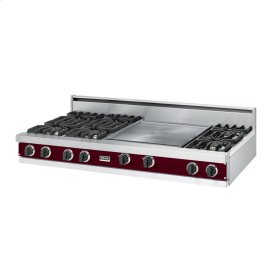 "Burgundy 60"" Open Burner Rangetop - VGRT (60"" wide, six burners 24"" griddle/simmer plate)"