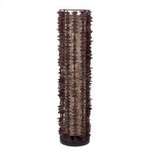 (LS) Harold decorative floor lamp -S-w/rattan fringe (12x12x38)