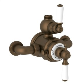 English Bronze Perrin & Rowe Edwardian Exposed Therm Valve With Volume And Temperature Control with Metal Lever