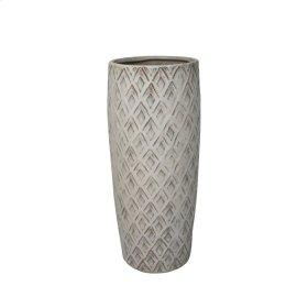 """Ceramic 12.5"""" Weave Vase, Beige"""