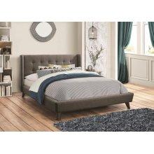 Grey Fabric King Size Platform Bed Frame