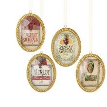 Wine Label Ornament (4 asstd).