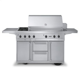 """Stainless Steel 53"""" Ultra-Premium T-Series Grill with TruSear & Side Burners - VGIQ (53"""" wide with two standard 25,000 BTU burners, one 30,000 TruSear infrared burner and double side burners (LP/Propane))"""