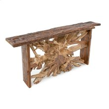 Hand Hewn Teak Console Table With Barnwood Sides