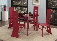 5 Pc. Red Contemporary Dining Set