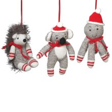 Sock Animal Ornament (3 asstd)