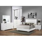 Felicity Contemporary Glossy White Queen Bed Product Image