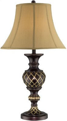 Table Lamp - Two-tone/beige Fabric Shade, E27 Type A 100w