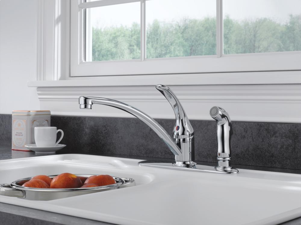 Hidden · Additional Stainless Single Handle Kitchen Faucet With Integral  Spray