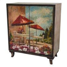 Florence Rustic Wood Painted Canvas Italian Bistro 2 Door Cabinet