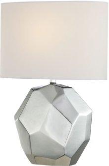 Table Lamp, Chrome Ceramic Body/white Fabric, E27 Cfl 13w
