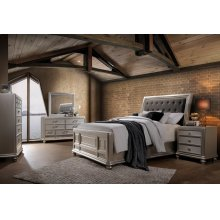 Venetia Champagne King Bedroom Set: King Bed, Nightstand, Dresser & Mirror