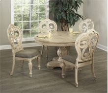 Round Dining Table w/ Leaf & 4 Chairs