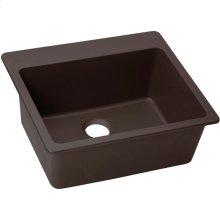 """Elkay Quartz Luxe 25"""" x 22"""" x 9-1/2"""", Single Bowl Drop-in Sink, Chestnut"""