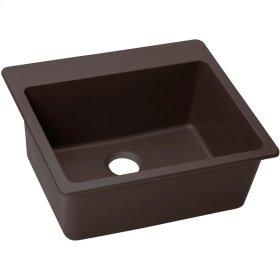 "Elkay Quartz Luxe 25"" x 22"" x 9-1/2"", Single Bowl Top Mount Sink, Chestnut"