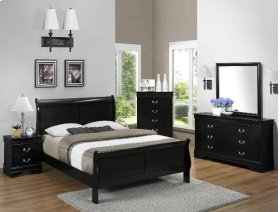5 PC. Black Louis Philip Queen Bedroom Set