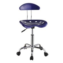 Dark Blue & Chrome Adjustable Height Rolling Chair - 2 pcs in 1 carton