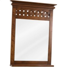 """26"""" x 34-1/4"""" Mirror with 3-1/2"""" wide shelf and beveled glass, and Nutmeg finish."""