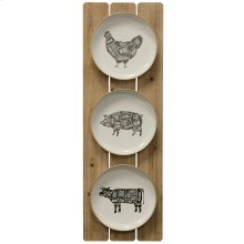 Farmhouse Setting  Wooden and Metal Material Wall Hanging with Painted Farm Animals  Built in Hang
