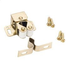 Polished Brass Double Roller Catch with Strike and Screws
