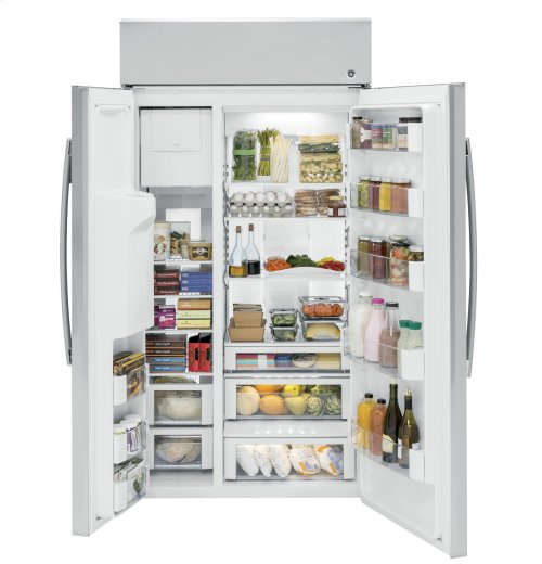 """GE Profile™ Series 42"""" Built-In Side-by-Side Refrigerator with Dispenser"""