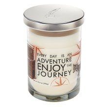 """Everyday is an Adventure Enjoy the Journey"" 10.4 oz. Sandlewood Scented Candle Jar."