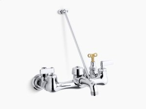 Polished Chrome Double Lever Handle Service Sink Faucet With Top-mounted Wall Brace and Loose-key Stops Product Image