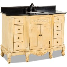 """50-1/4"""" vanity with antique crackled Buttercream finish, carved floral onlays, French scrolled legs, and preassembled top and bowl."""