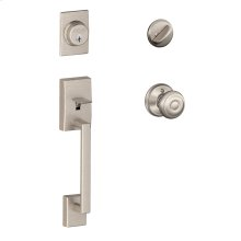 Century Single Cylinder Handleset and Georgian Knob - Satin Nickel